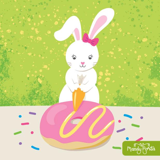 Some Bunny Loves Donuts Illustration by Mandy Porta