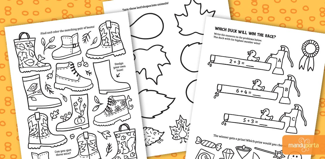 Fall Kids Activity Sheets by Mandy Porta