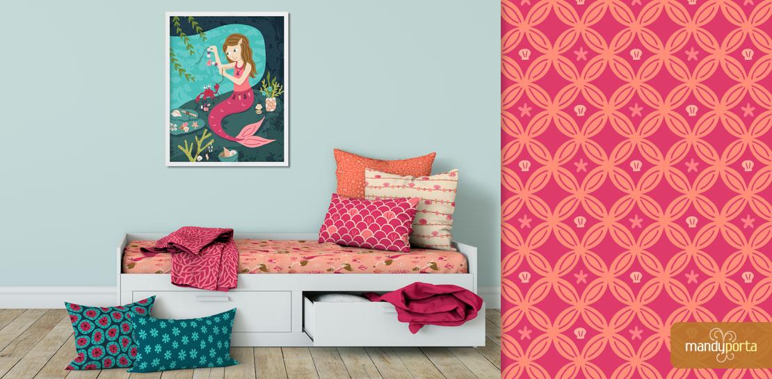 Maker Mermaid Surface Pattern Fabric Mockup