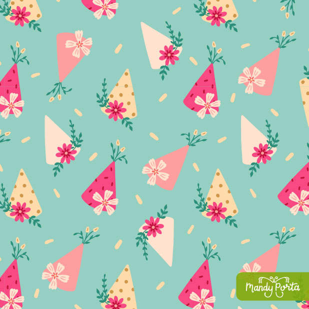 Floral Birthday - Party Hats Surface Pattern