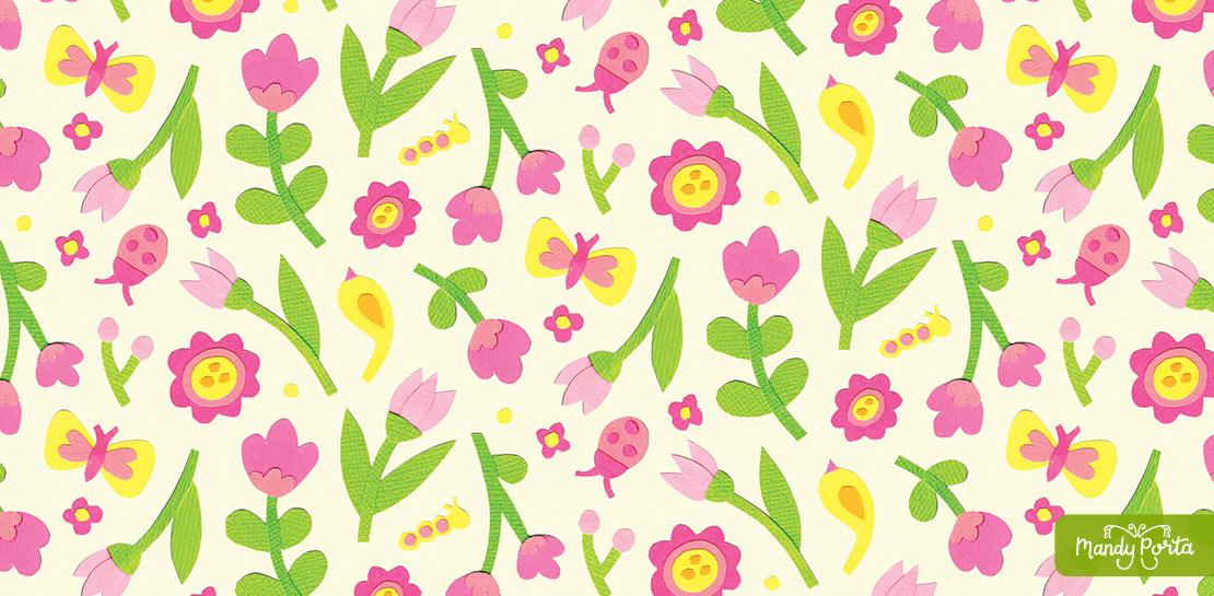 Pink Flower Garden Paper Cutouts Surface Pattern