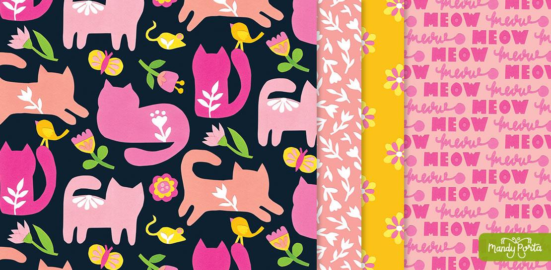 Playful Folk Kitty Surface Pattern Collection