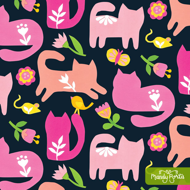 Floral Paper Cats Pattern by Mandy Porta