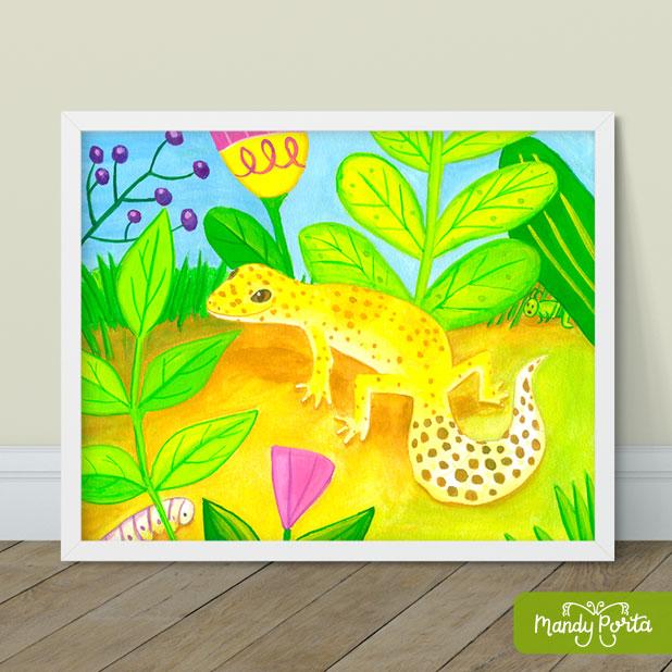 Leopard Gecko Gouache Painting