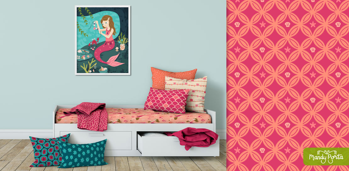 Maker Mermaid Surface Pattern Fabric Mockup