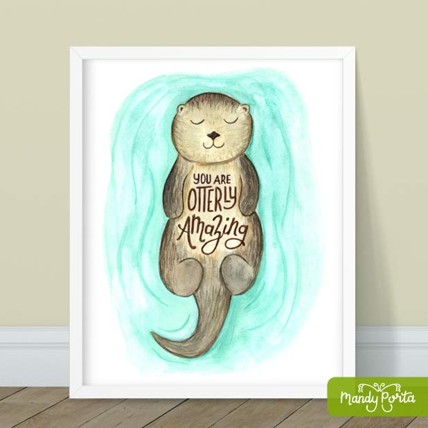Hand Lettered Otter Illustration