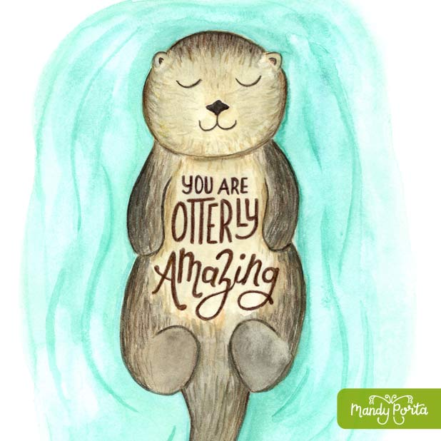 Otterly Amazing Otter Illustration Hand Lettering