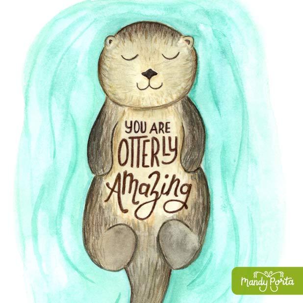 Otterly Amazing Otter Illustration Hand Lettering