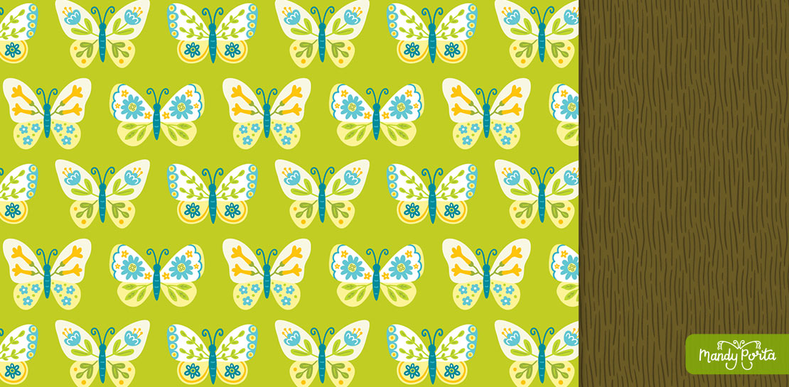 Summer Garden Butterfly Surface Pattern