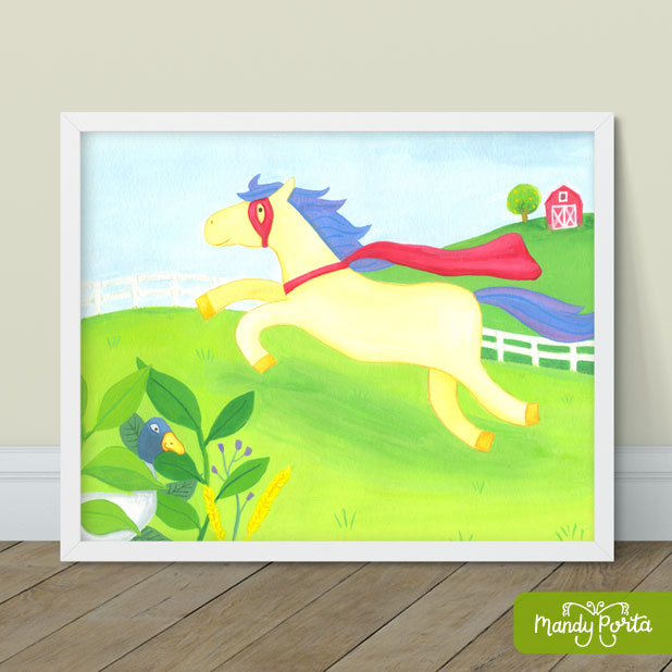 Super Horse on Farm Gouache Illustration