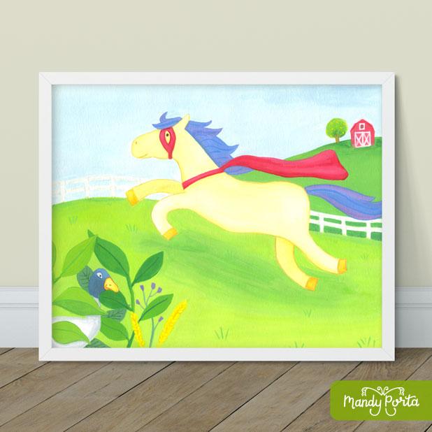 Super Horse on Farm Gouache Illustration