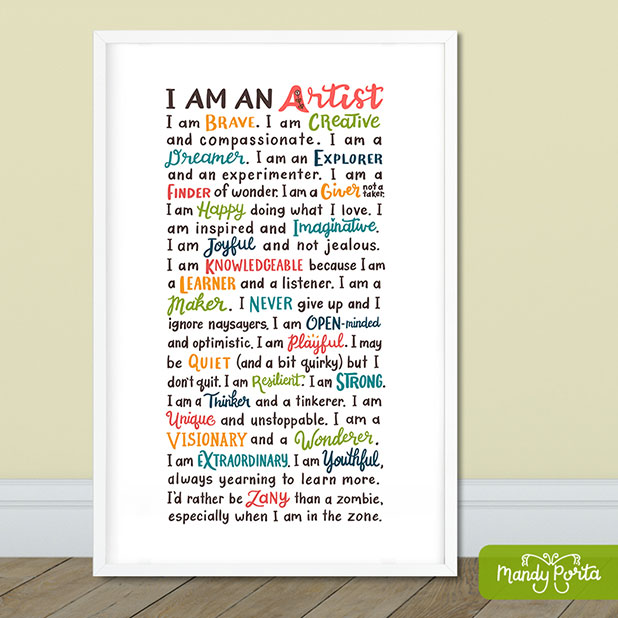 I Am An Artist Alphabet Quote Hand Lettered