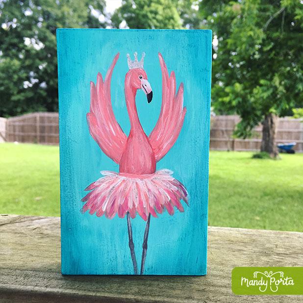 Flamingo Ballerina Acrylic Painting