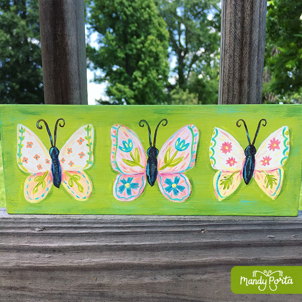 Folk Butterflies Acrylic Painting