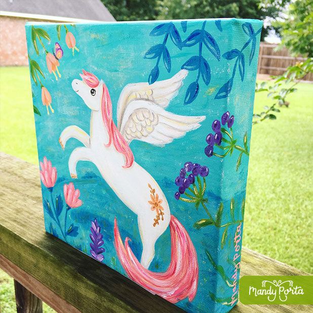Pegasus with Butterfly Gallery Wrapped