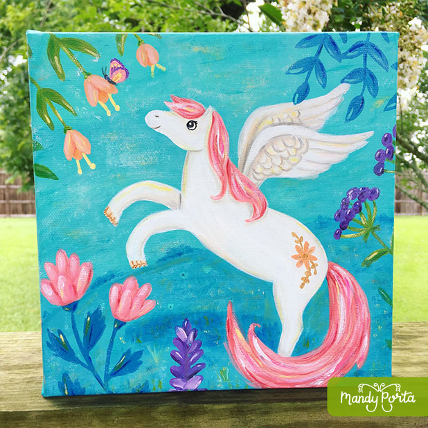 Pegasus with Butterfly Acrylic Painting