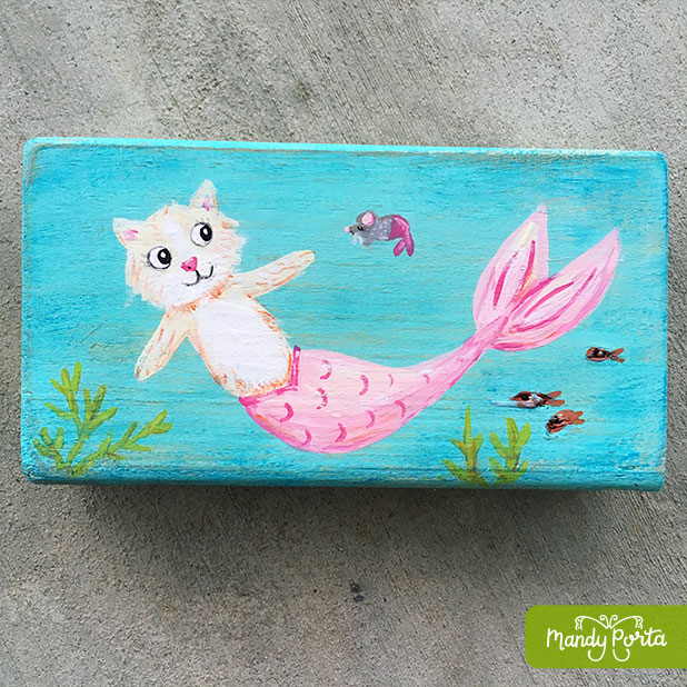 Pink Purrmaid (or Mercat) Acrylic Painting