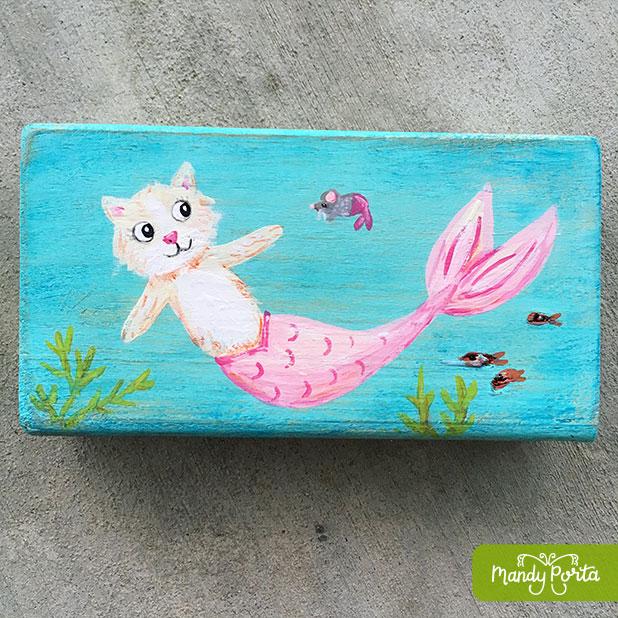 Pink Purrmaid (or Mercat) Acrylic Painting