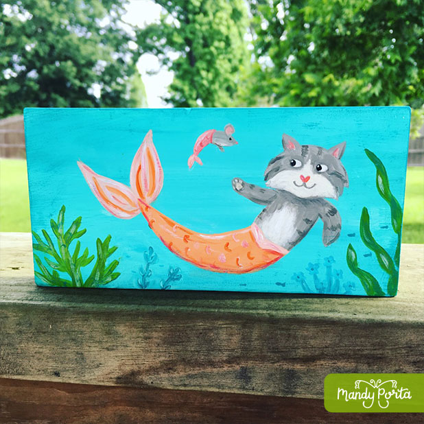 Orange Purrmaid (or Mercat) Acrylic Painting