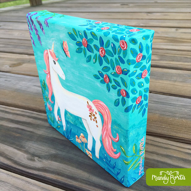 Unicorn with Butterfly Gallery Wrapped