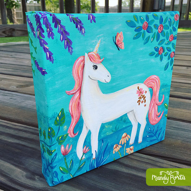 Unicorn with Butterfly Gallery Wrapped Canvas