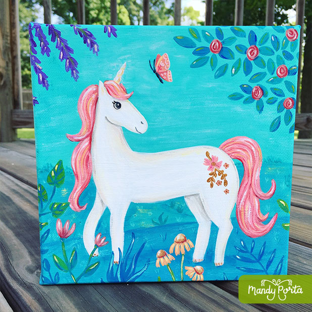 Unicorn with Butterfly Acrylic Painting
