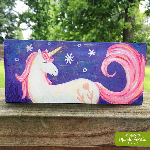 Magical Unicorn at Night Acrylic Painting