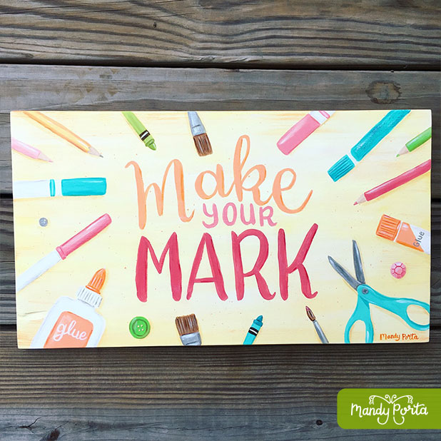 Art Supplies Hand Lettered Acrylic Painting for Art Playroom