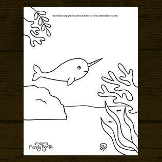 Under the Sea Narwhal Doodle Activity Sheet Printable