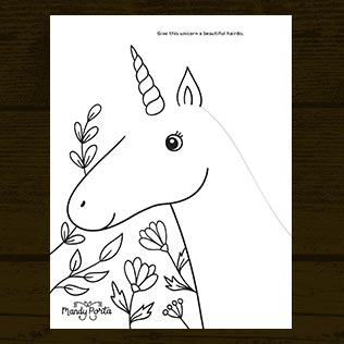 Unicorn Hair Doodle Activity Printable for Kids