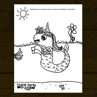 Unicorn Mermaid Doodle Activity Sheet Printable