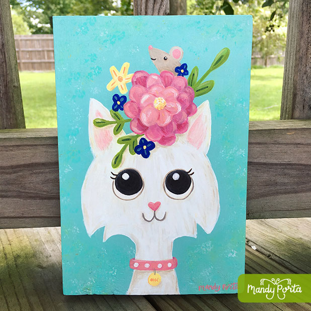 White Cat Floral with Mouse Illustration
