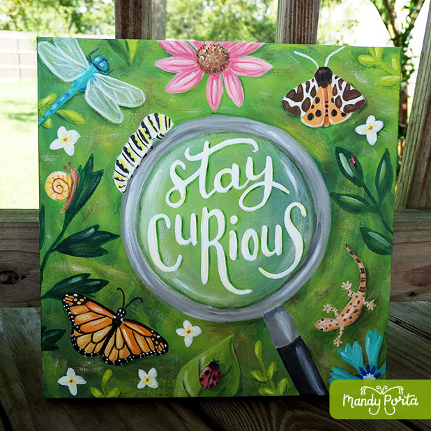 Stay Curious Bugs Acyrlic Painting