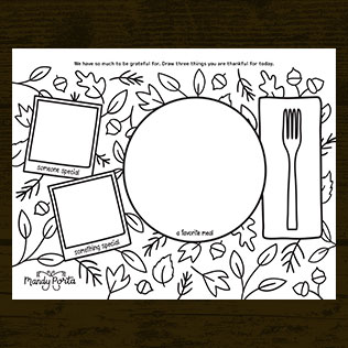 Thanksgiving Gratitude Coloring Doodle Activity Printable