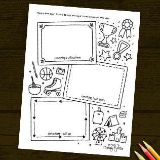 New Year Goals - Kids Vision Board Activity Printable