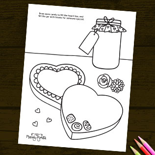 Valentine's Day Coloring Drawing Activity Printable