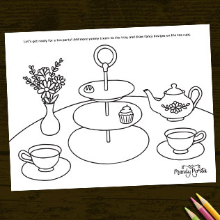 Tea Party Drawing Coloring Activity Sheet