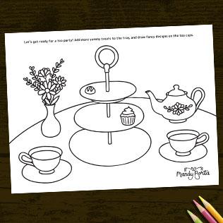 Tea Party Drawing Coloring Activity Sheet