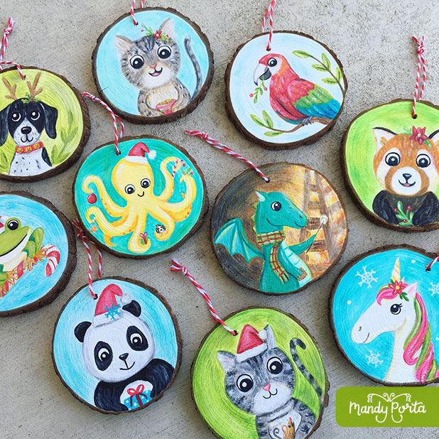 Hand Painted Animals on Wood Slice Ornaments