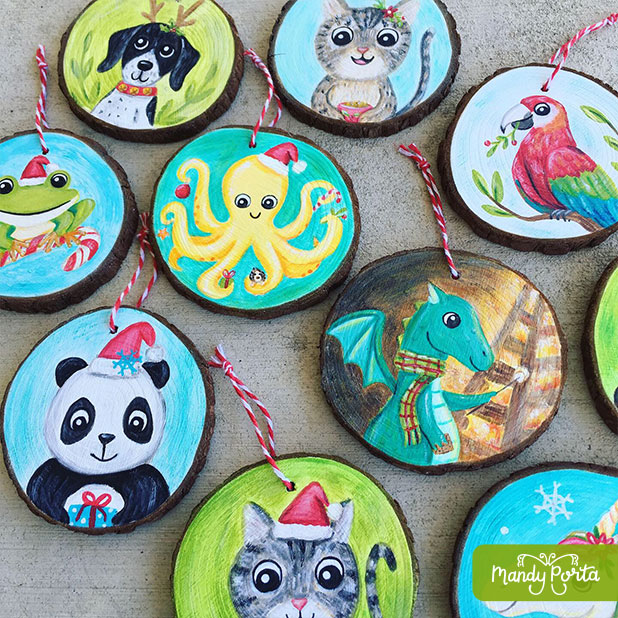 Christmas Critters Painted Ornaments