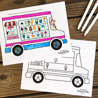 Ice Cream Truck Summer Drawing Activity