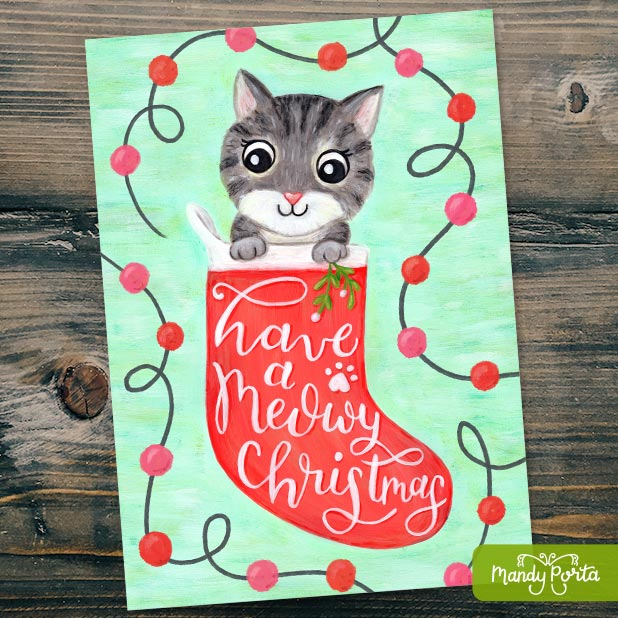 Meowy Christmas Art for Stationery