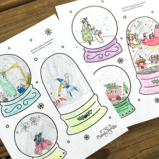 Holiday Snow Globe Drawing Activity Printable for Kids